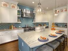 Blue Tile Backsplash Kitchen White Kitchen Cabinets With Blue Subway Tile Backsplash