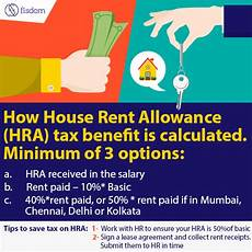 how house rent allowance hra tax benefit is calculated