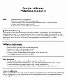 sle summary for resume 8 exles in word pdf