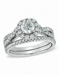 zales 1 1 6 ct diamond frame twist bridal in 14k white gold 18277152 wedding ring the knot
