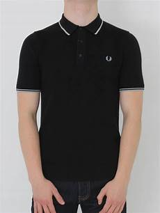 fred perry tipped knitted polo shirt in black northern