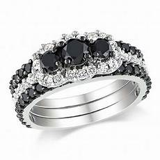 2 ct t w enhanced black and white diamond bridal in 10k white gold bridal sets wedding