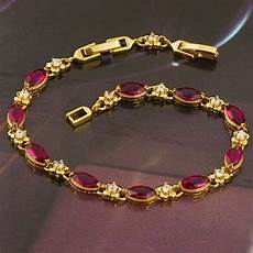 Womens 18k Yellow Gold Plated Ruby Bracelet Gold