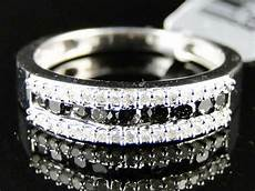 womens white gold finish cut black diamond wedding