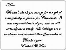 an exle of how to write a thank you note for a gift of