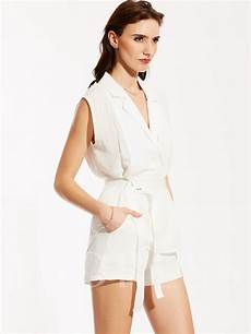 suit blouse sleeveless notched lapel sleeveless blouse and shorts suit tbdress