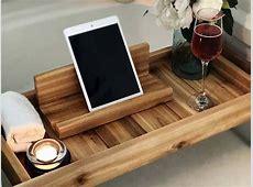 Handmade Wooden Bath Tray with iPad Stand   Gadgetsin