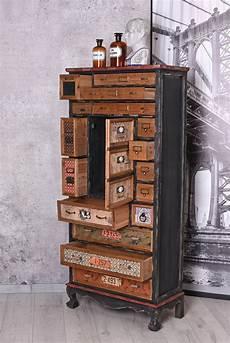 schrank vintage apothekerschrank im loft style hochkommode retro kommode
