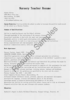 resume sles nursery teacher resume sle