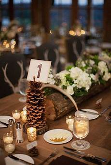 picture of a rustic winter wedding centerpiece of a tree
