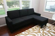 Black Fabric Sectional Sofa W Reversible Chaise Lounge