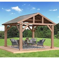14 x 12 cedar pavilion gazebo with aluminum roof fsc