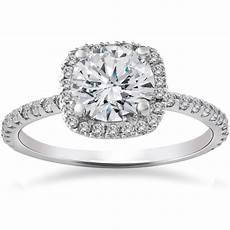 2 carat cushion halo diamond engagement ring 14k white gold