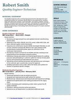 quality engineer resume sles qwikresume