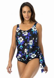 a figure flattering blouson tankini top to mix