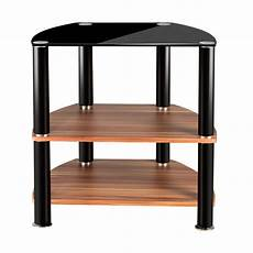 2 tier black glass wooden tv table