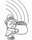 A Fatty Leprechaun With His Pot Of Gold Coloring Page