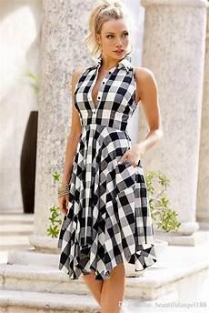 casual vintage dress women fashion sleeveless tunic shirt dress 2017 summer white red plaid