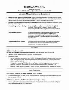 sle resume for an entry level manufacturing engineer