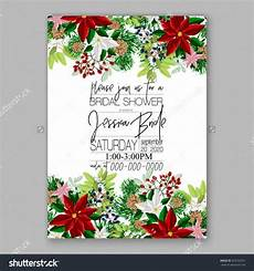 bridal shower invitation card template with winter bridal bouquet wreath flower poinsettia merry