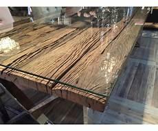 Esstisch Tischplatte Aus Altholz Mit Glasplatte Tisch