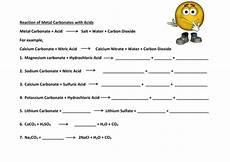reaction of metal carbonates with acid worksheet docx