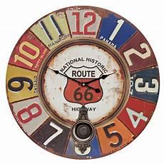 wanduhr mit pendel gro 223 uhr route 66 bunt vintage uhr