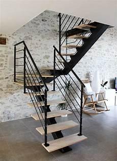 Escalier 2 4 Tournant Limon Central Longneck Associant