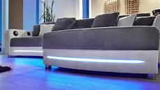 wohnlandschaft laredo sofa wei 223 grau mit led und soundsystem
