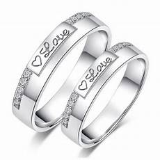 heart of love white gold plated 925 sterling silver couple rings price for a pair love rings