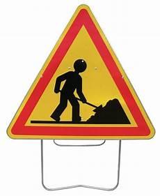 panneau travaux en cours panneau de signalisation temporaire sur pied quot travaux quot seton fr