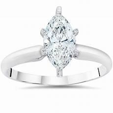 1ct solitaire marquise enhanced diamond engagement ring 14k white gold ebay