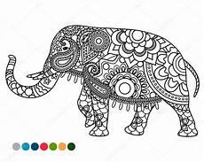 elefanten mandala ornament mit farben proben stockvektor