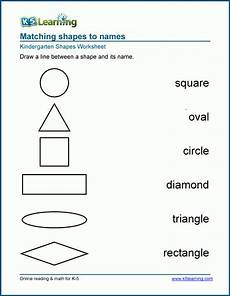 names of shapes worksheets for preschool and kindergarten