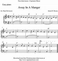 easy free piano sheet away in a manger