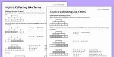 ks3 ks4 maths student led practice sheets algebra collecting like terms
