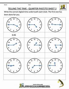 printable worksheets about telling time 3718 clock worksheets quarter past and quarter to
