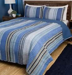 indigo blue stripe 3pc full queen quilt set white striped brisbane coverlet ebay