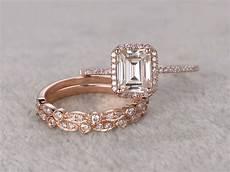 3pcs emerald cut moissanite engagement rings diamond wedding sets rose gold half eternity art