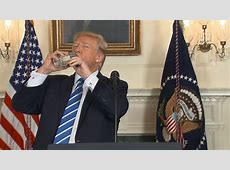 donald trump drinking water