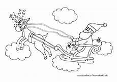 weihnachtsmann rentierschlitten malvorlage http www