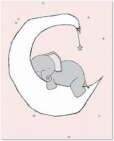 elephant moon and nursery print pink and