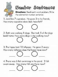 writing subtraction number sentences from word problems