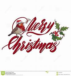 christmas greeting card handwritten merry christmas sign and singing robin bird accurate