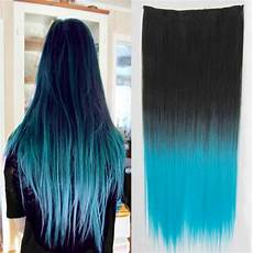 nehty modre ombre clip in vlasy 60 cm dlouh 253 p 225 s vlas絲 ombre styl 1b