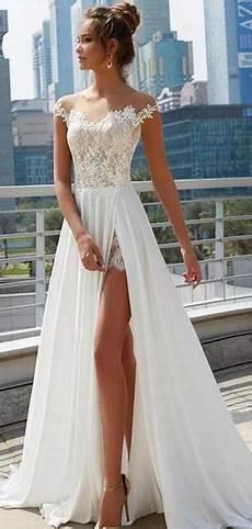 off shoulder see through cheap wedding dresses online side slit a lin sposadresses