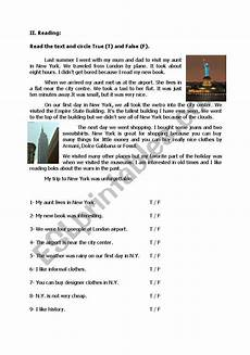 reading comprehension with true false questions pre intermediate esl worksheet by sundial