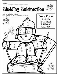 free subtraction color by number worksheets 16323 winter math literacy print and go 2nd grade ccss math worksheets 2nd grade math