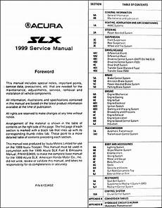 1999 acura slx owners manual original 1999 acura slx repair shop manual original
