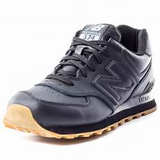 new balance nb 574 leather mens leather black gum trainers